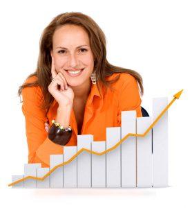 woman showing a graph