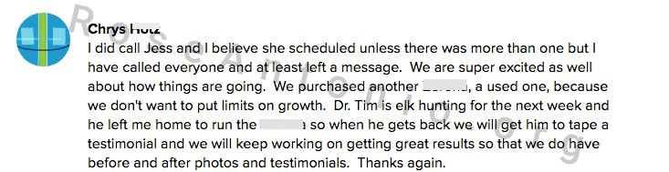 Client Testimonal for great work